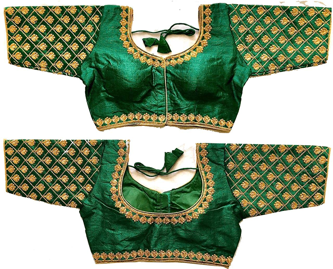 Buy Pujia Mills Women S Green Colour Heavy Hand Work Maggam Design Readymade Blouse For Saree And Lehenga Size 38 Margin At Amazon In,Hair Design For Wedding Simple