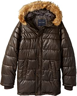 Tommy Hilfiger Mens Tall Size Quilted Faux Leather Parka With Removable Faux Fur Trimmed Hood