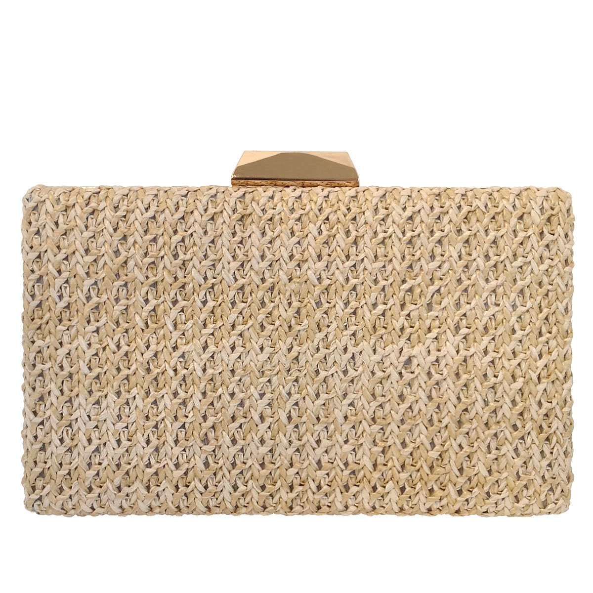 Natural Straw Box Clutch, Natural