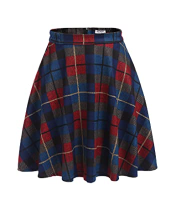 15970bf942 HOTOUCH Women's High Waisted Wool Check Print Plaid Aline Skirt Blue S