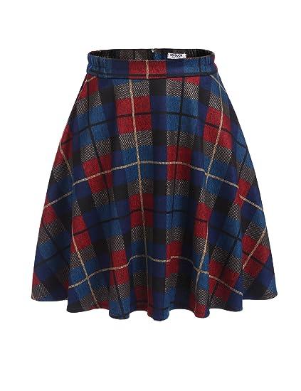 a72e48ab242ebe UNibelle Jupe Femme Plissée à Carreaux Kilt Rétro Jupe Basique Jupe Tartan  Mini-Jupe Taille Haute Courte Jupe Patineuse