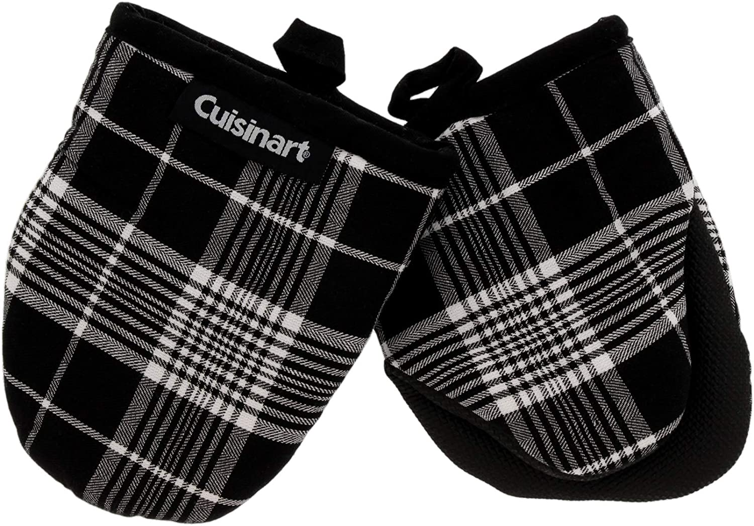 Cuisinart Neoprene Mini Oven Mitts, 2pk - Heat Resistant Oven Gloves Protect Hands and Surfaces with Non-Slip Grip and Hanging Loop-Ideal Set for Handling Hot Cookware, Bakeware- Glen Plaid, Black