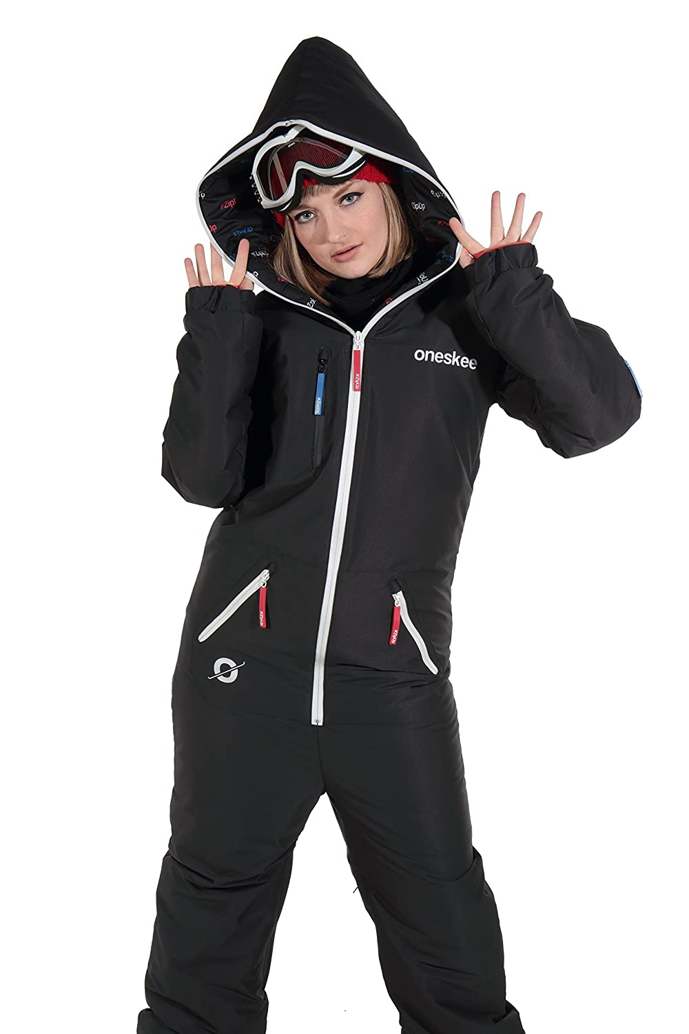 Oneskee Original Jet Black XL Retro All in One Ski Suit - One Piece padded  waterproof womens ski wear  Amazon.ca  Sports   Outdoors 6e53bec31