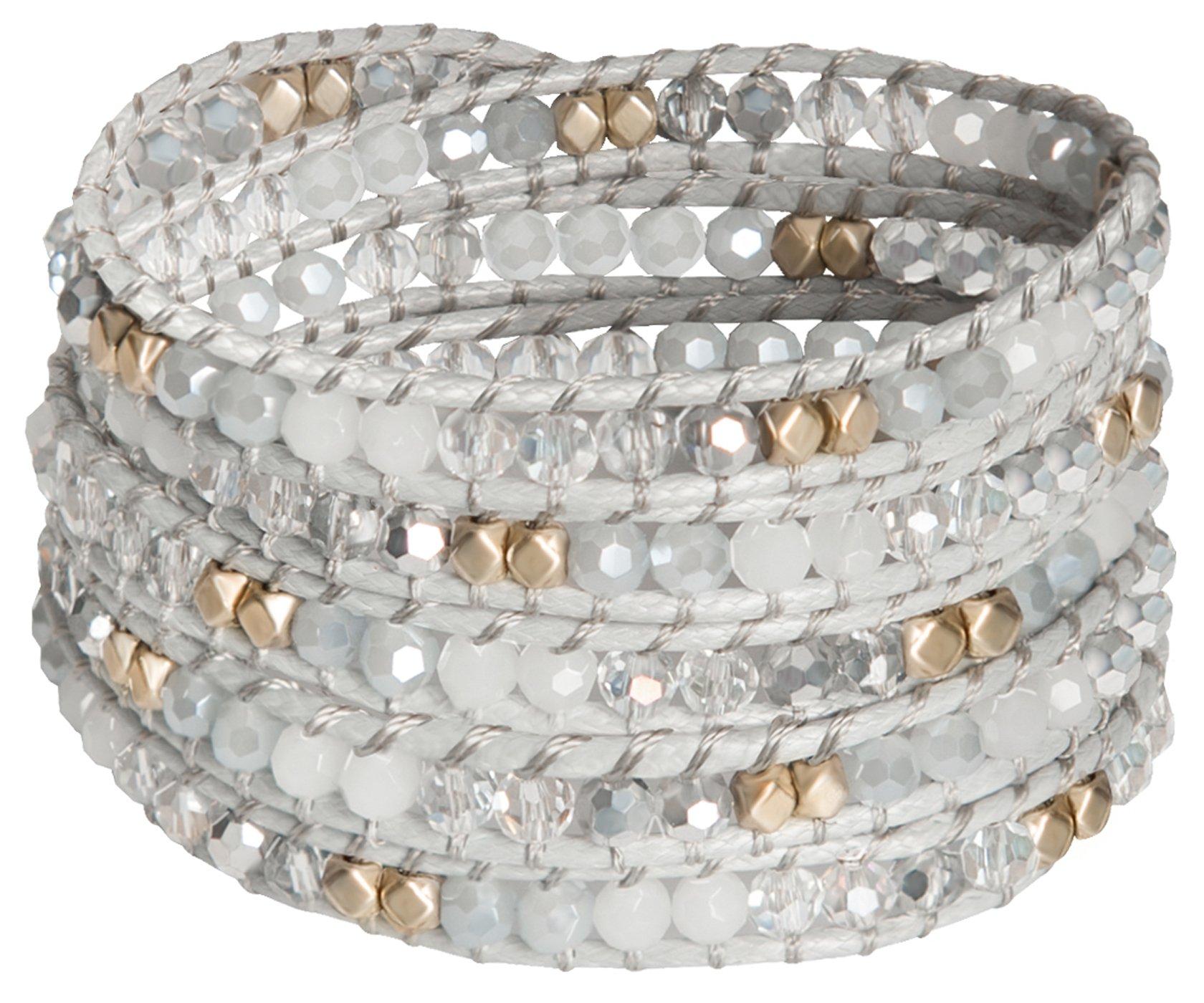 Sun Life Style 5 Wrap Bracelet - Bangle Cuff Rope With Beads - Unisex - Free Size Adjustable (silver)