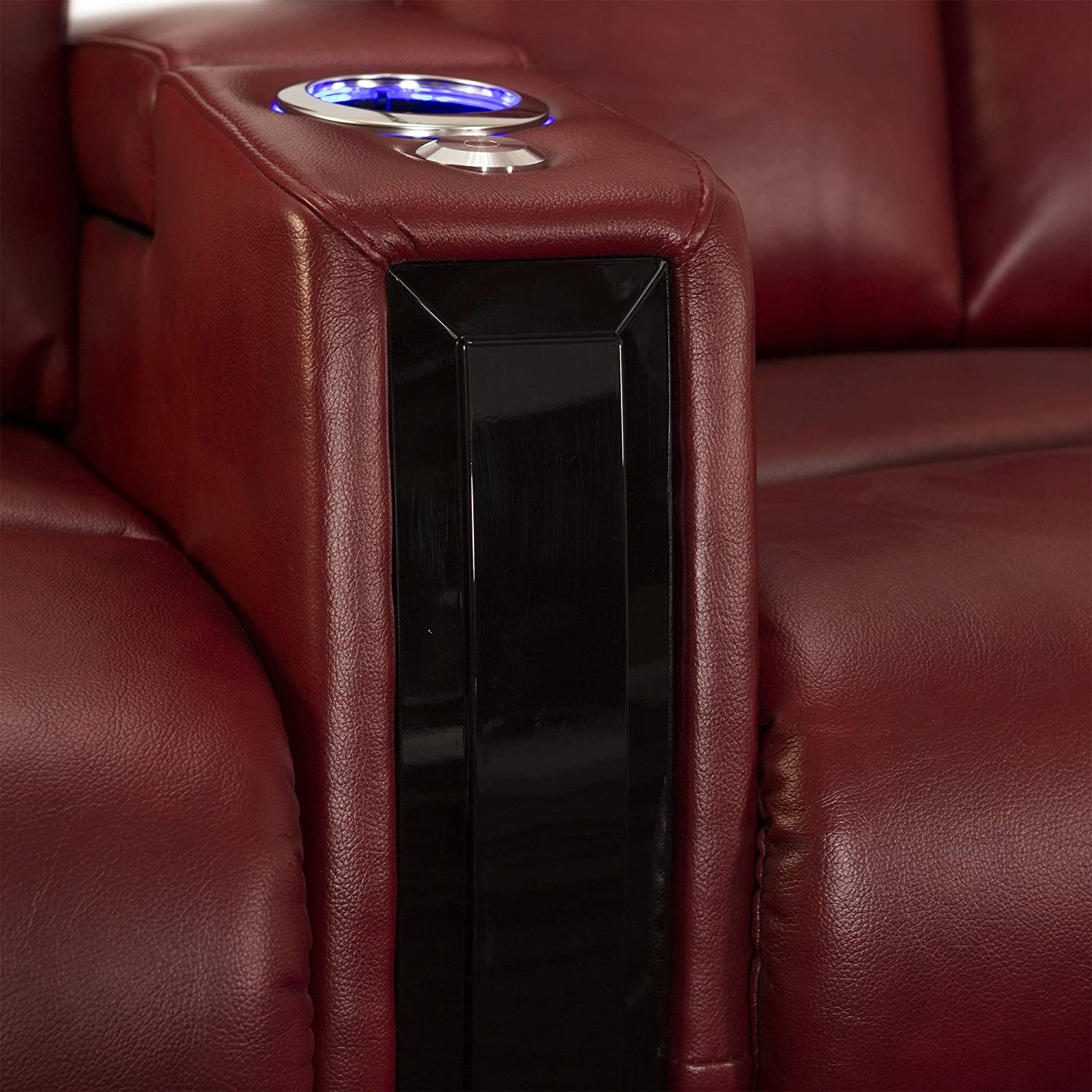 Seatcraft Seville Home Theater Seating Leather Gel Power Recline with Wood Accents, Hidden in-Arm Storage, Swivel Tray Tables, SoundShaker, and Lighted Cup Holders and Base, Row of 4, Red