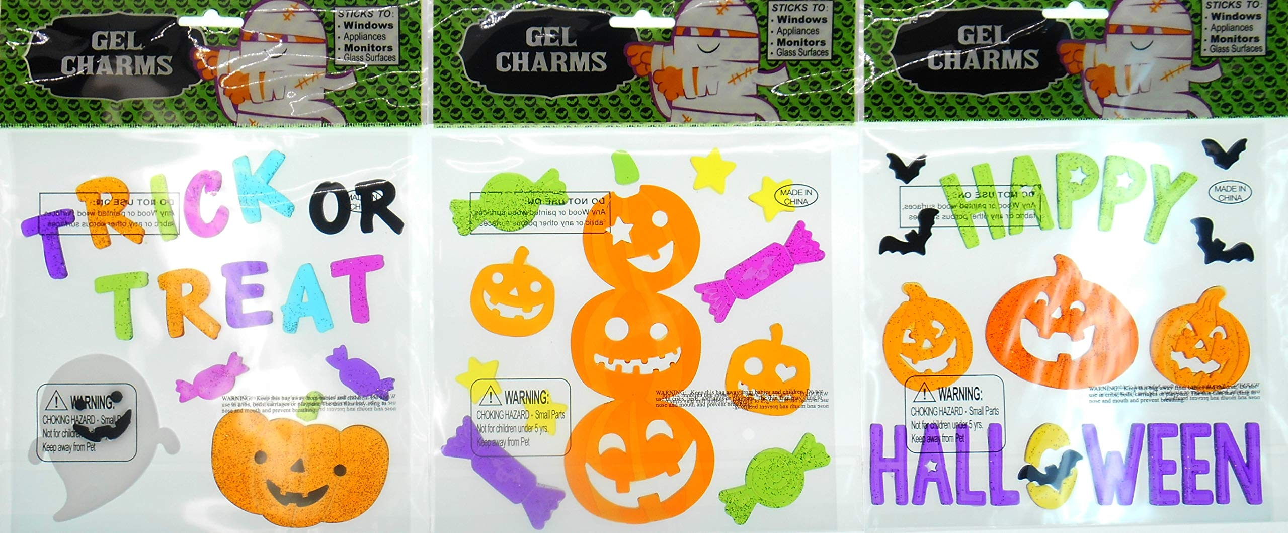 Halloween Decorations Window Gel Clings - Happy Halloween, Trick or Treat, a 3 Pumpkin Jack O Lantern with Candies - Bundle of 3