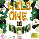 Jungle Theme First Birthday Decorations Kit, Baby 1st Birthday Forest Party Supplies, Wild One Photo Props, Includes…