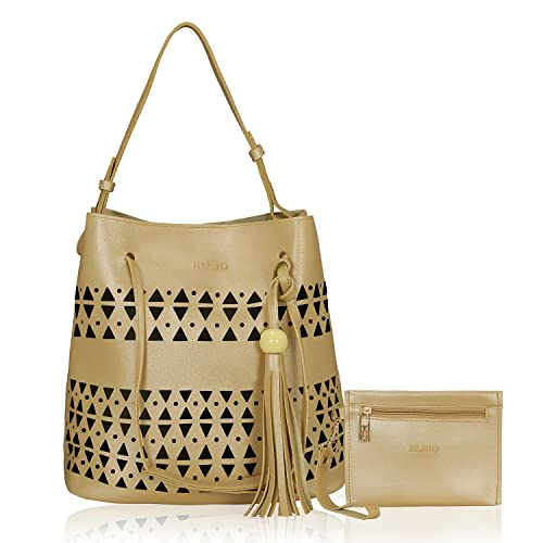 3df996d2440c Kleio PU Laser Cut Top Handle Tote Shoulder Hand Bag for Women(Beige ...