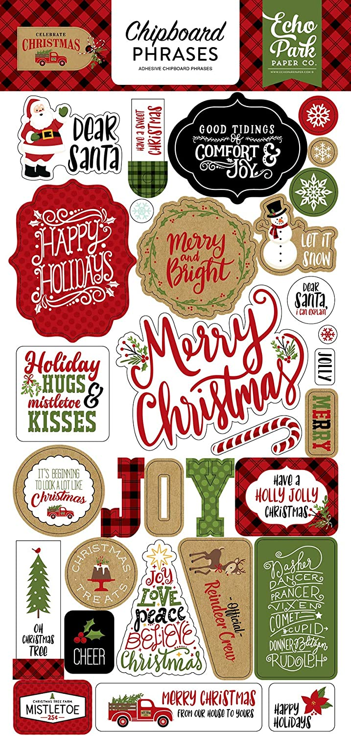 Echo Park Paper Company CCH159022 Celebrate Christmas 6x12 Chipboard Phrases Paper tan Burlap red Black Green