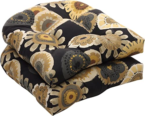 Pillow Perfect Indoor/Outdoor Black/Yellow Floral Wicker Seat Cushion