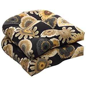 Pillow Perfect Indoor/Outdoor Black/Yellow Floral Wicker Seat Cushions, 2-Pack