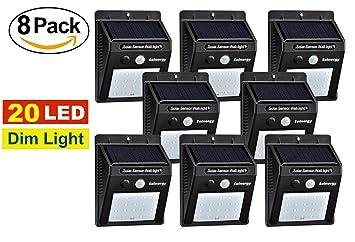 [Solnergy] 20 LED Sensor solar brillante, luz tenue, iluminación de movimiento exterior