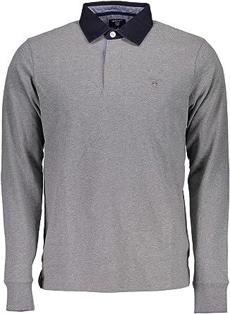 Camiseta de rugby GANT manga larga de hombre Gris oscuro L ...