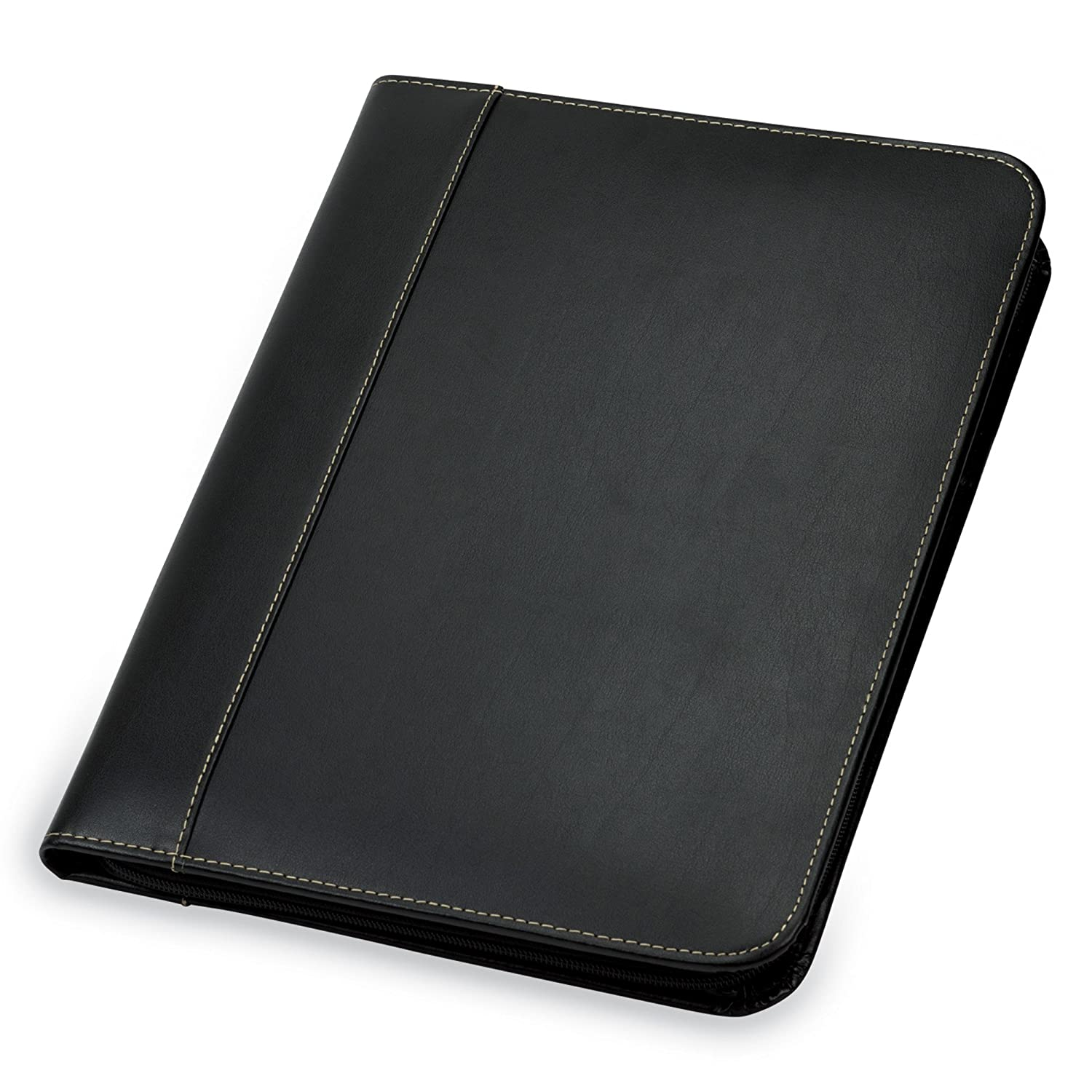 Amazoncom Samsill Contrast Stitch Leather Zipper Padfolio