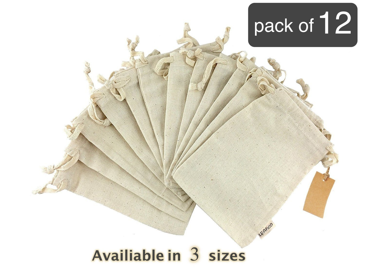 Eco bags, Reusable Grocery Bags Multipurpose Muslin Bags With Drawstring | Large 10x12 Inches, Sachet Bags, Canvas Bags, Vegetable and Bread Bags, Fabric Produce Bags, Linen Bag, 12 Count Pack Leafico