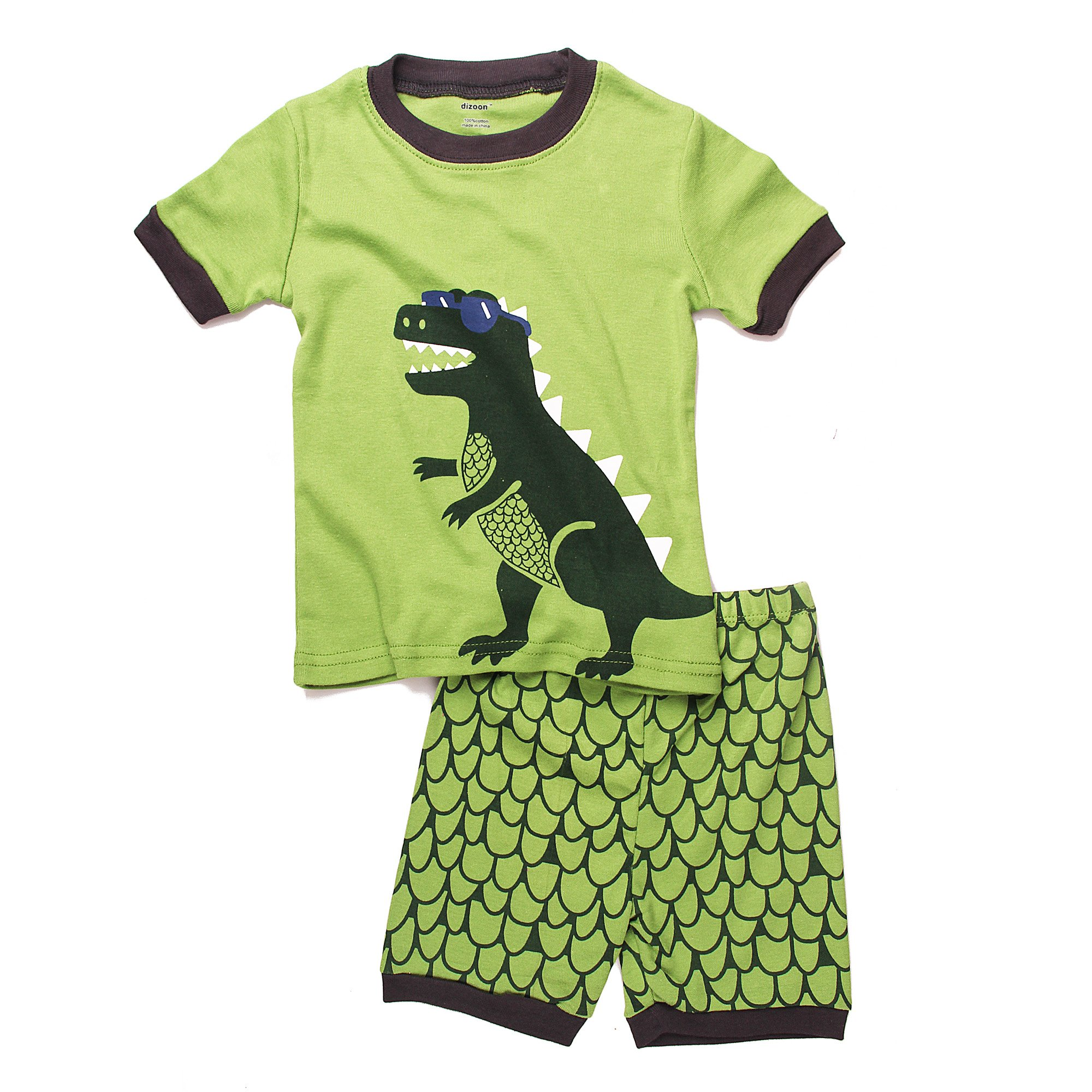 PRETCFTB Boys 2-Piece Short Pajama Set 100%Cotton Green Dinosaur Size 2-7T (7T, Glasses Dinosaur)