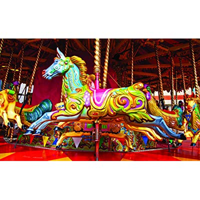 Blue Carousel Horse 750 Piece Puzzle Colorluxe: Toys & Games