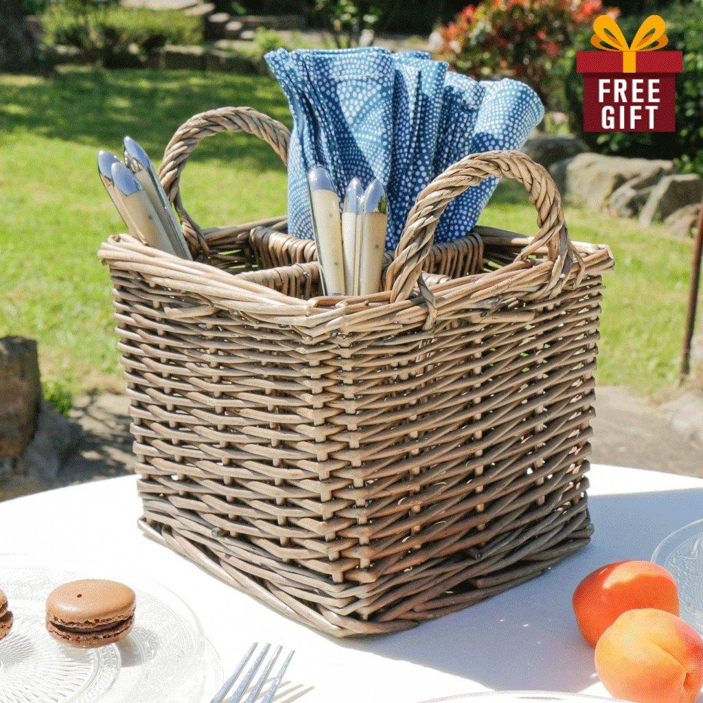 Pequeña cesta de mimbre Natural cubiertos partición personalizada - personalizado con 100% Piel Grabado etiqueta - regalo perfecto para un cocinero o Baker, ...
