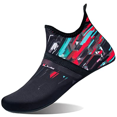 L-RUN Mens Water Skin Shoes Calcetines Aqua para Yoga Mid Black Red XL (W: 7.5-8, M: 7.5-8)