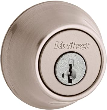 Kwikset Single Cylinder Deadbolt With Smartkey Satin Nickel Finish Door Levers Amazon Com