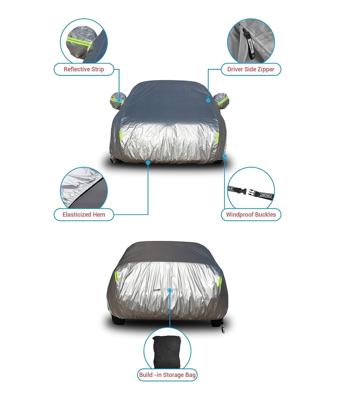 Shieldo Basic Car Cover with Build-in Storage Bag Door Zipper Windproof Straps and Buckles 100/% Waterproof All Season Weatherproof Fit 191-200 Length Sedan