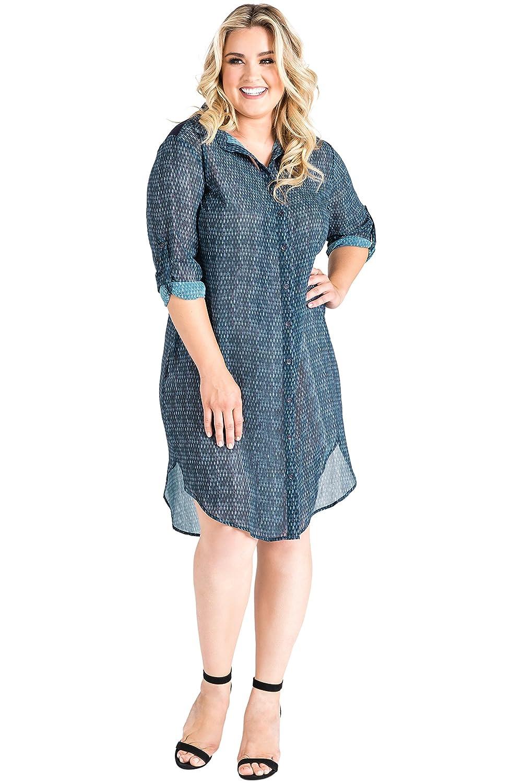 b8653a07605 Standards   Practices Plus Size Women s Snake Charmer Print Chiffon Shirt  Dress Blue at Amazon Women s Clothing store