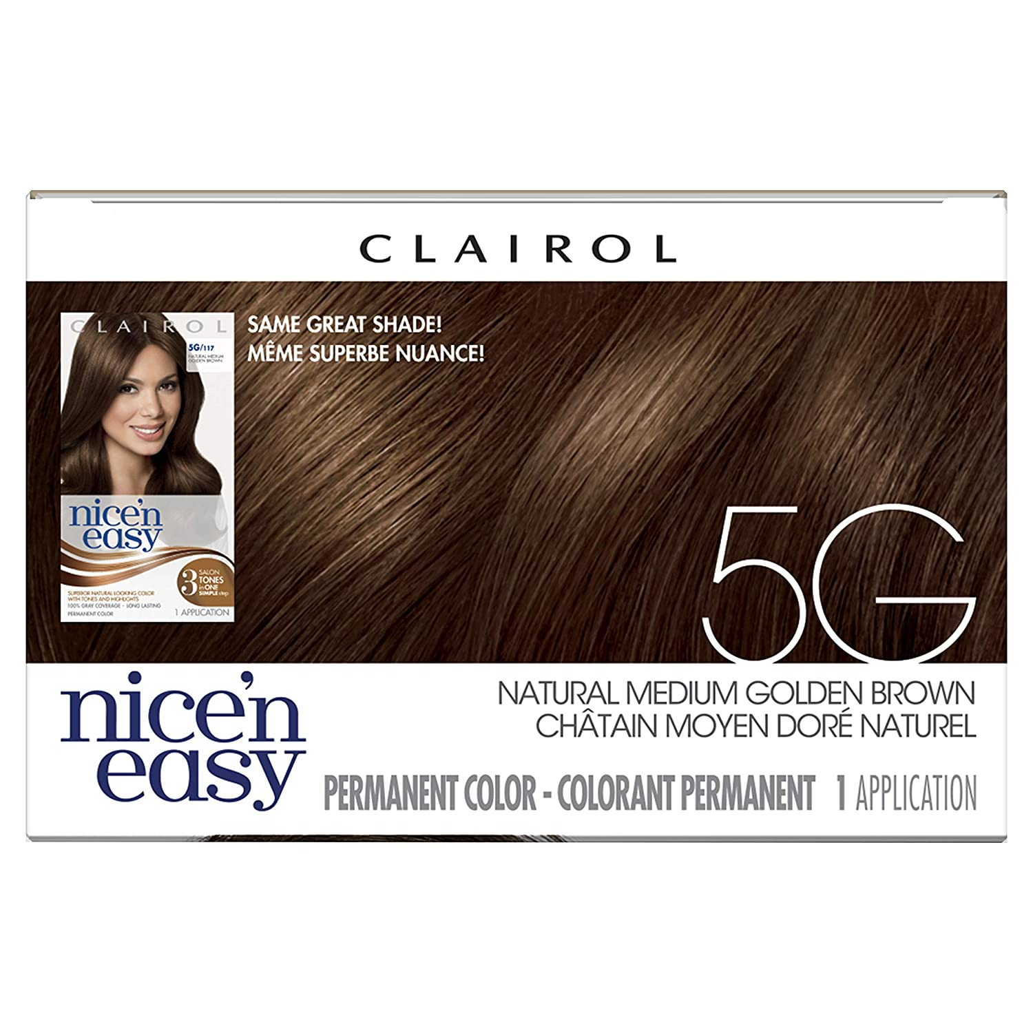 Clairol Nice'n Easy Original Permanent Hair Color, 5G Medium Golden Brown, 3 Count : Chemical Hair Dyes : Beauty