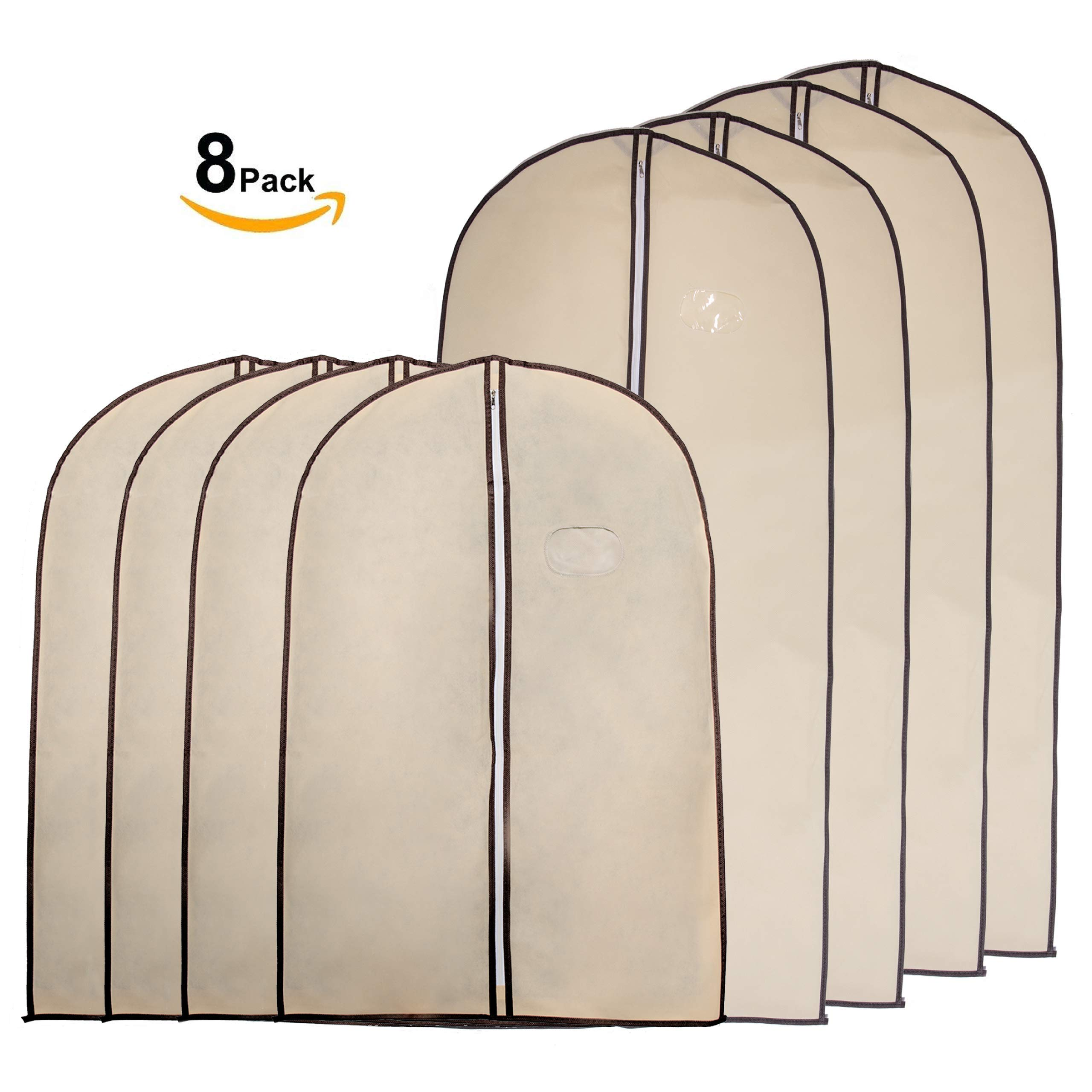 Garment Bags by Home Zone - 8 Piece Multi Pack of Breathable Garment Bag Clothes Covers - Protect Garments, Suits and Costumes - Ideal for Travel - Coffee & Cream Finish - Includes 4 Medium & 4 Large