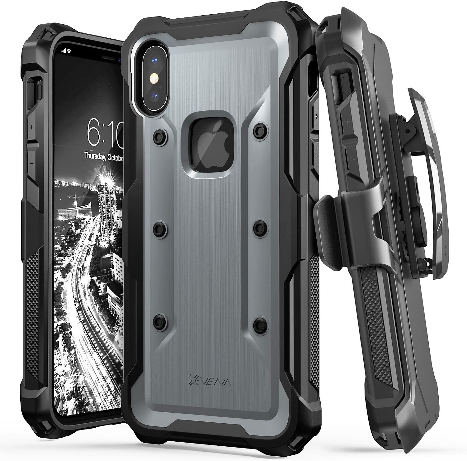 """Vena vArmor Rugged Case Compatible with Apple iPhone X / XS (5.8""""-inch), (Military Grade Drop Protection) Heavy Duty Holster Belt Clip Cover with Kickstand - Space Gray"""