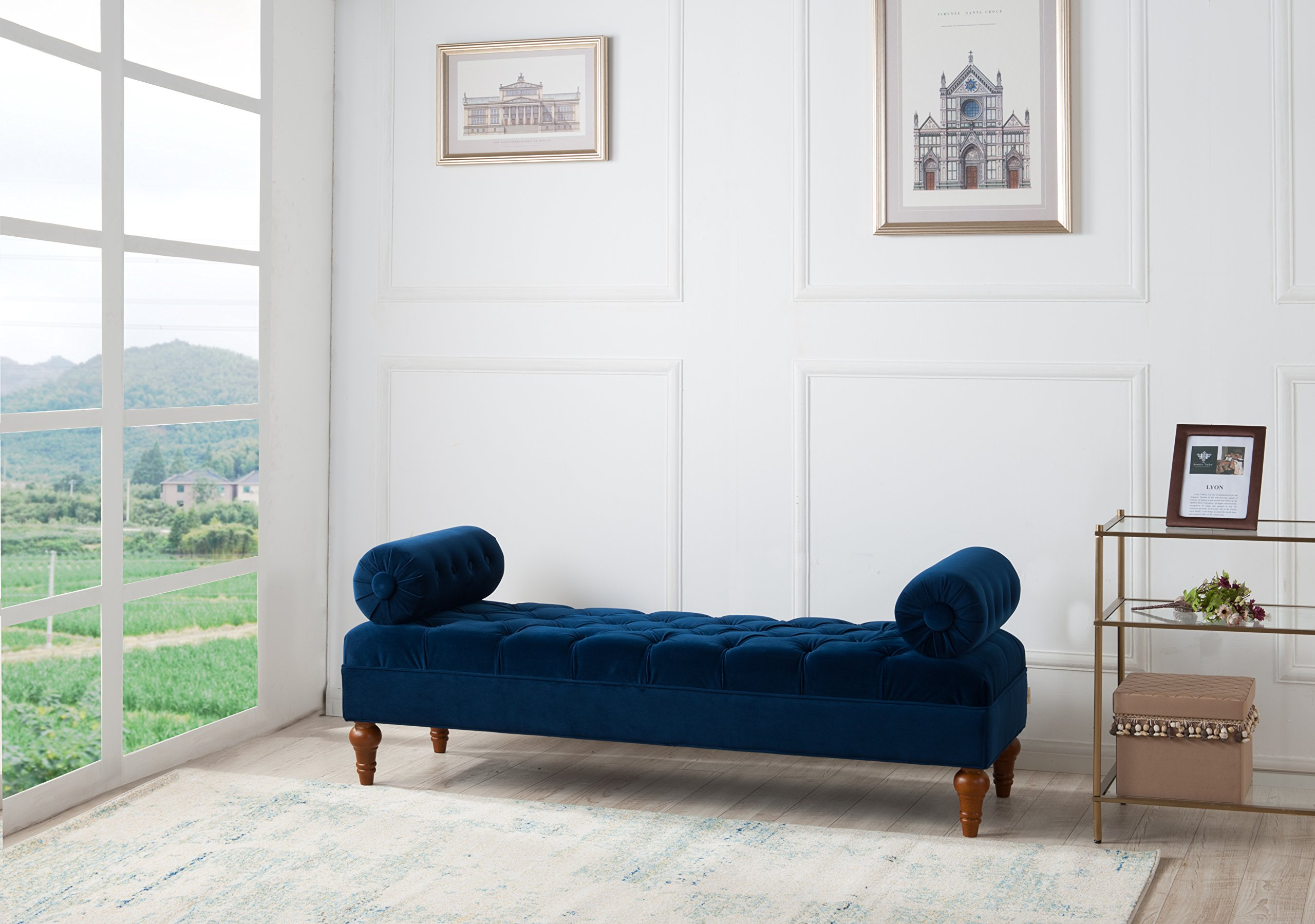 Jennifer Taylor Home Lewis Accent Entryway Bolster Bench, Navy Blue by Jennifer Taylor Home
