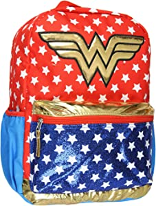 DC Comics Wonder Woman Backpack Light Up Motion Glittery 16""