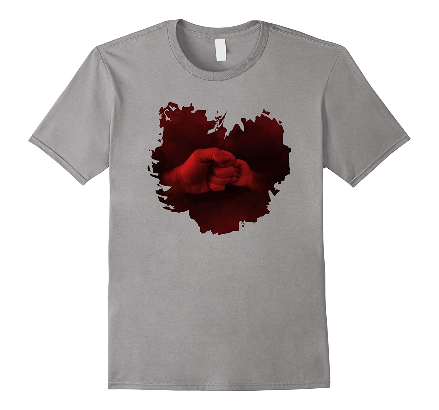 Father  Son Daughter Child Fist Bump in Heart Shape T-Shirt-TH