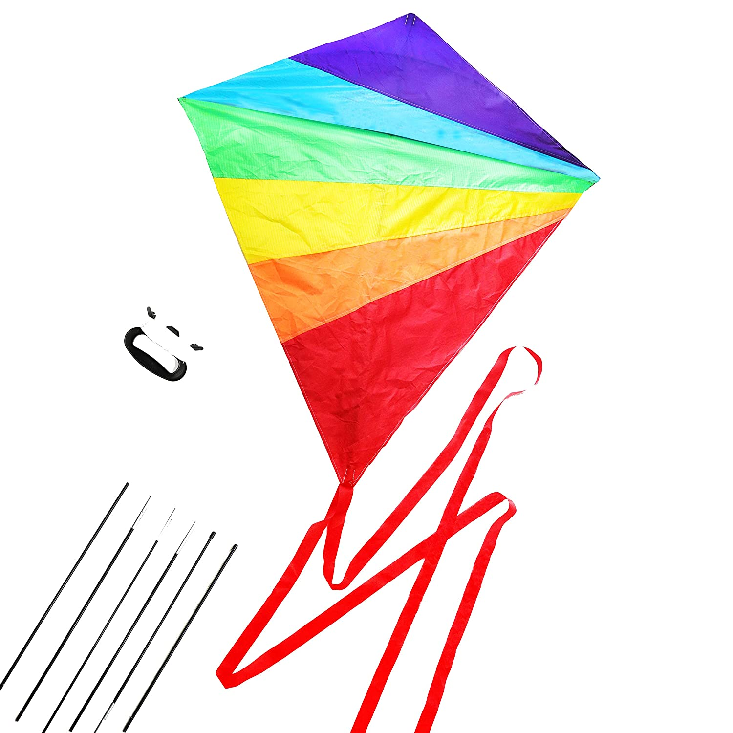 Diamond Kite Large Easy Flyer Rainbow Kites for Kids and Adults for Beach Park Garden Playground with Kite Handle Perfect Outdoor Fun B07F13T8G5