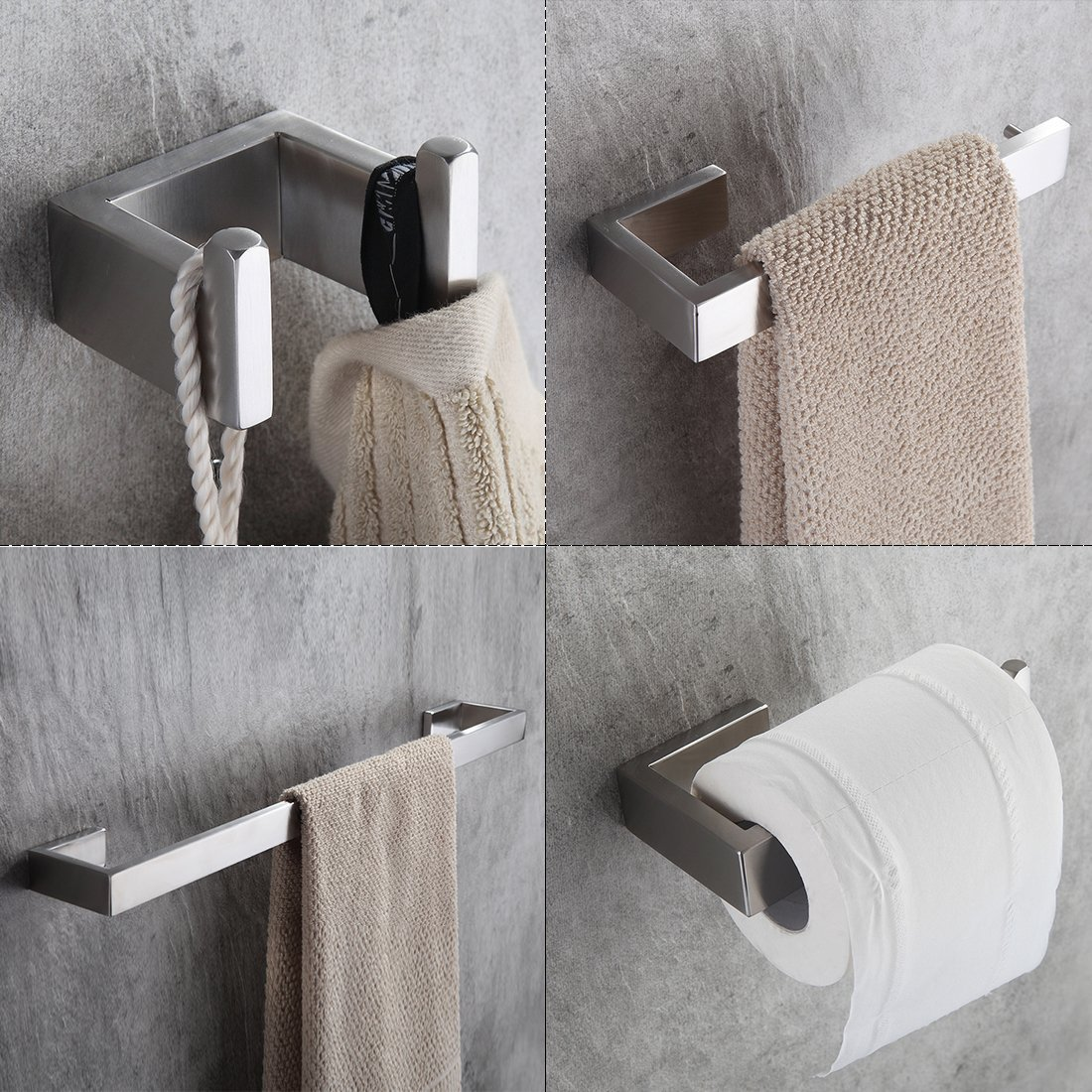 Fapully Four Piece Bathroom Accessories Set Stainless Steel Wall Mounted,Brushed Nickel Finished by FAPULLY