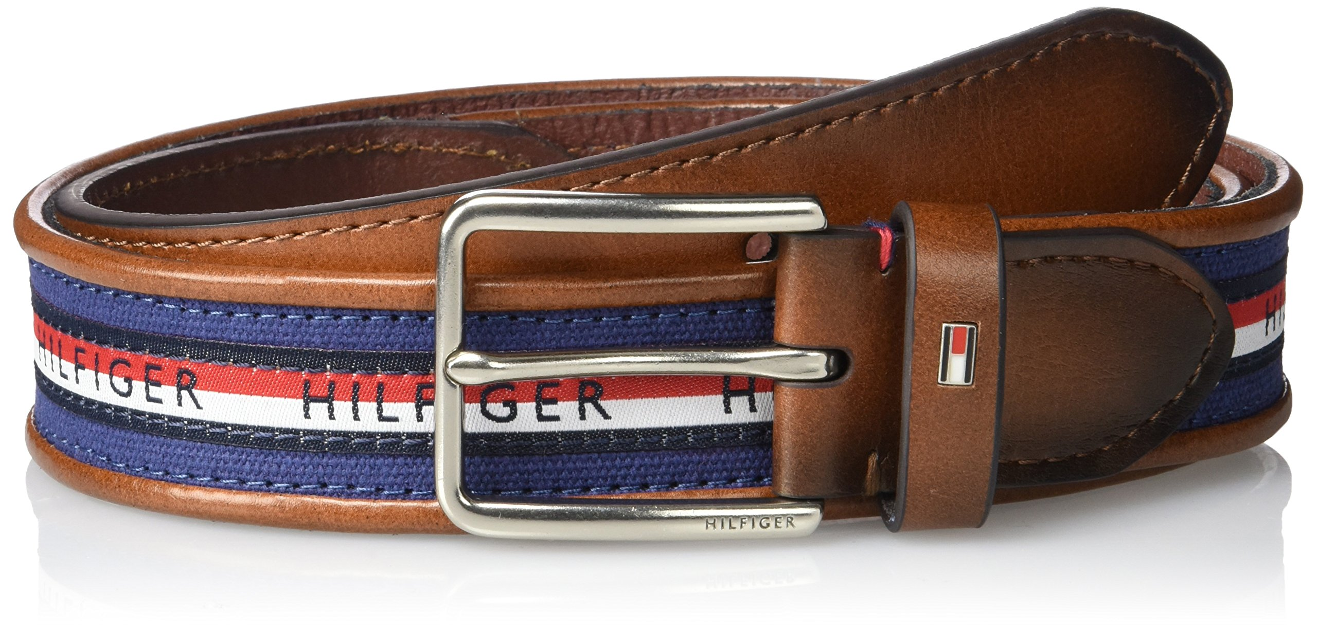 Tommy Hilfiger Men's Ribbon Inlay Belt - Fabric Belt with Single Prong Buckle, Navy Stripe, 42