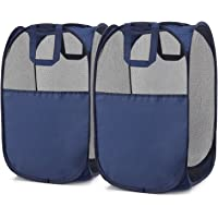 Pop-Up Hamper, Magicfly Foldable Pop-Up Mesh Hamper with Reinforced Carry Handles, Laundry Mesh Basket Blue, Pack of 2, (No Side Pocket)
