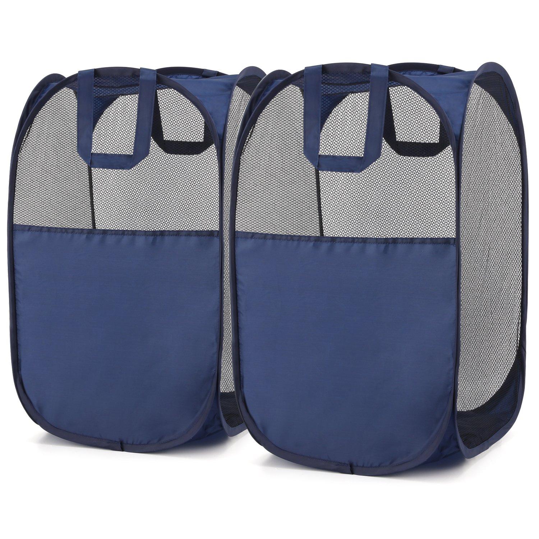 Magicfly Pop-Up Hamper, Foldable Pop-Up Mesh Hamper with Reinforced Carry Handles, Laundry Mesh Basket Blue, Pack of 2