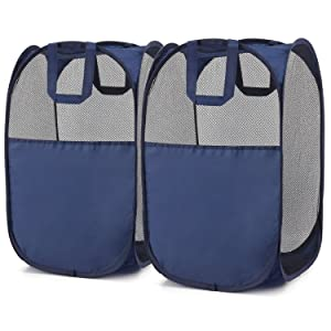 Magicfly Pop-Up Hamper, Foldable Pop-Up Mesh Hamper with Reinforced Carry Handles, Laundry Mesh Basket Blue, Pack of 2