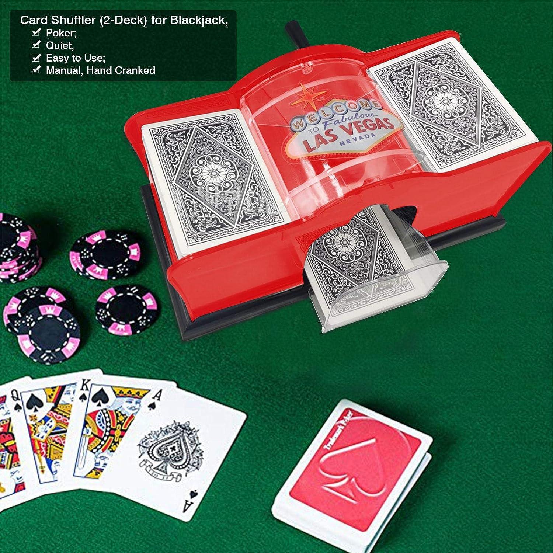 Kartenmischer manuell 2 Deck-Kartenmischer f/ür Blackjack Leise und einfach Poker iBelly Handkurbel-Kartenmischer Kartenmischmaschine manuell Kartenmischer als Kartenmischger/ät Card Shuffler
