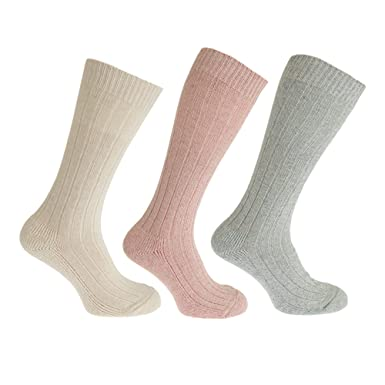 Severyn Calcetines altos térmicos de lana para mujer (3 pares) (37-41