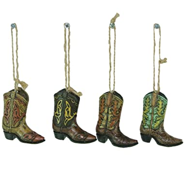 Western Country Cowboy Boots Ornaments 4 ASST - String Hanger Christmas Holiday Gift