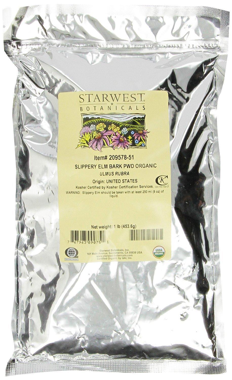 Starwest Botanicals Organic Slippery Elm Bark Powder, 1 lb Bag (Pack of 2), Ulmus Rubra