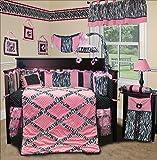 SISI Baby Bedding - Pink Minky Zebra 13 PCS Crib Bedding