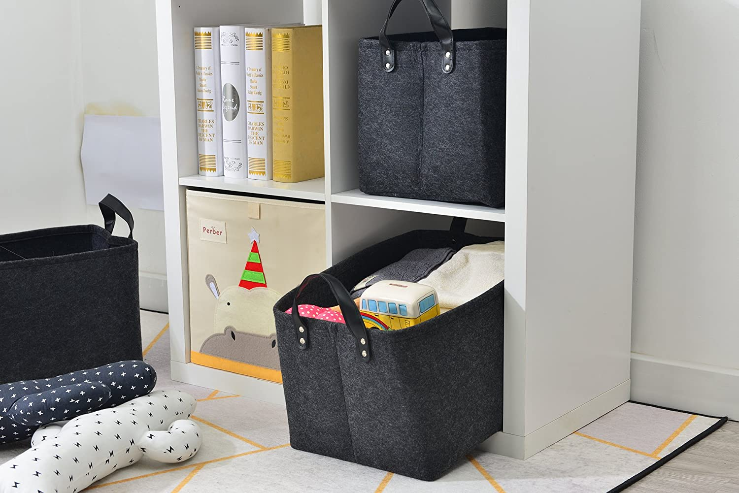 Foldable Felt Fabric Storage Box Cubes Containers with Leather Handles- Large Organizer for Nursery Toys,Kids Room,Towels,Clothes Black (15.5 11.4 10) 3-Pack Collapsible Storage Basket Bins