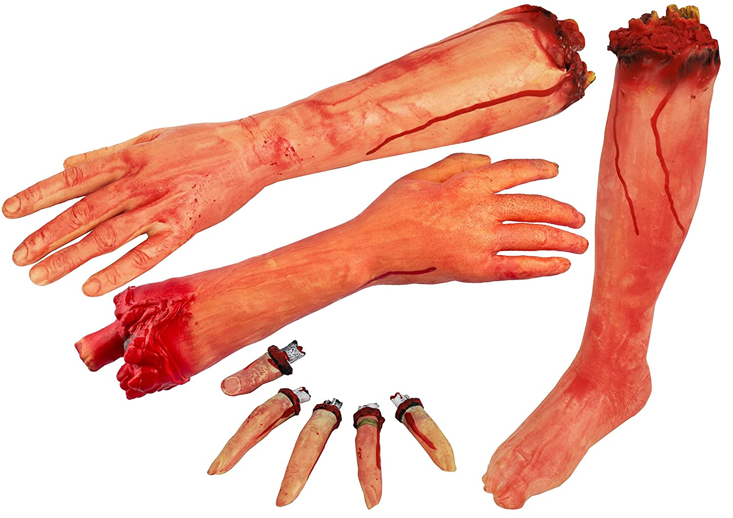5 SEVERED FINGERS HALLOWEEN PROP - SEVERED THUMB + FOUR SEVERED FINGERS HALLOWEEN FANCY DRESS ILOVEFANCYDRESS