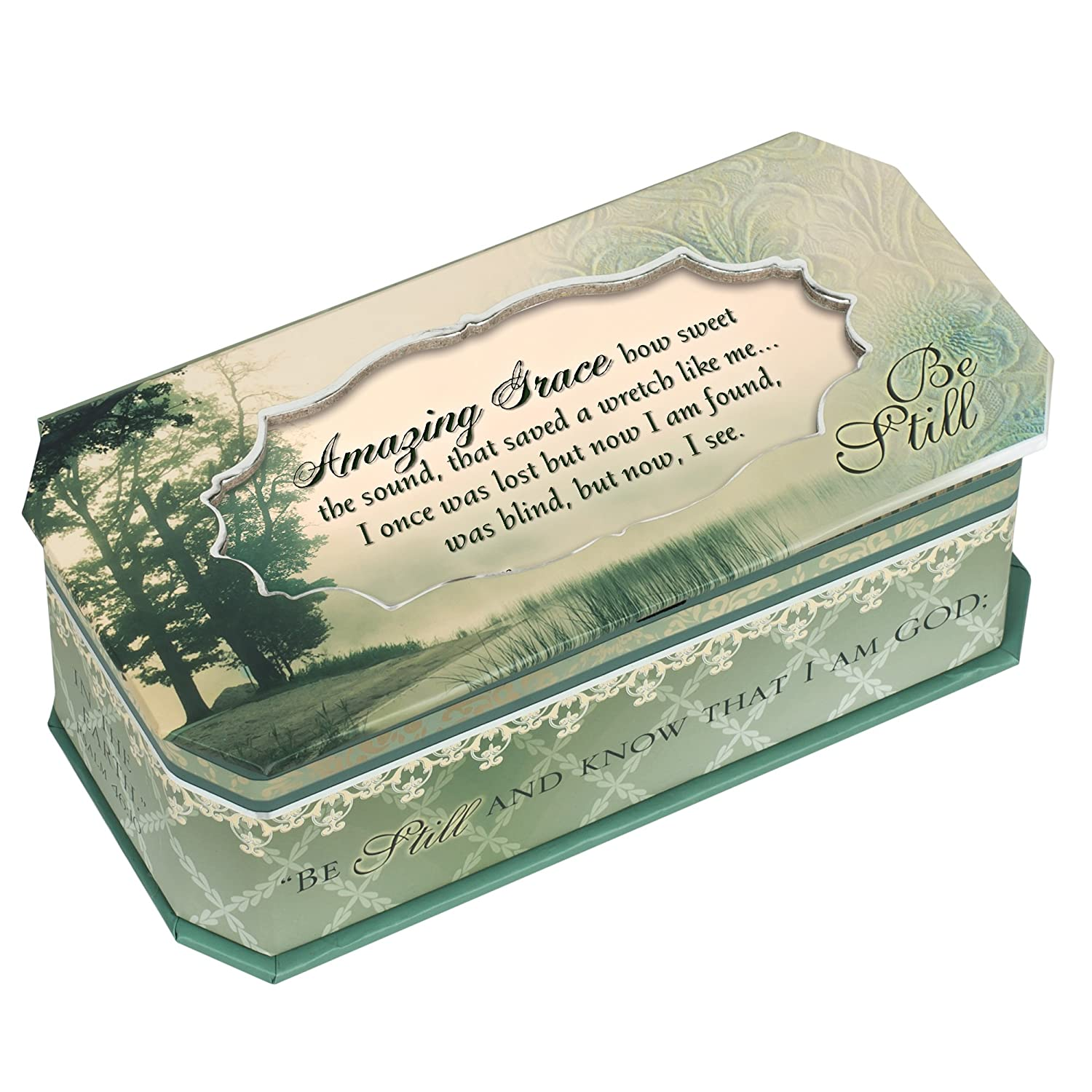 Cottage Garden Amazing Grace Be Still Petite Belle Papier Musical Keepsake Jewelry Box Plays Song Amazing Grace