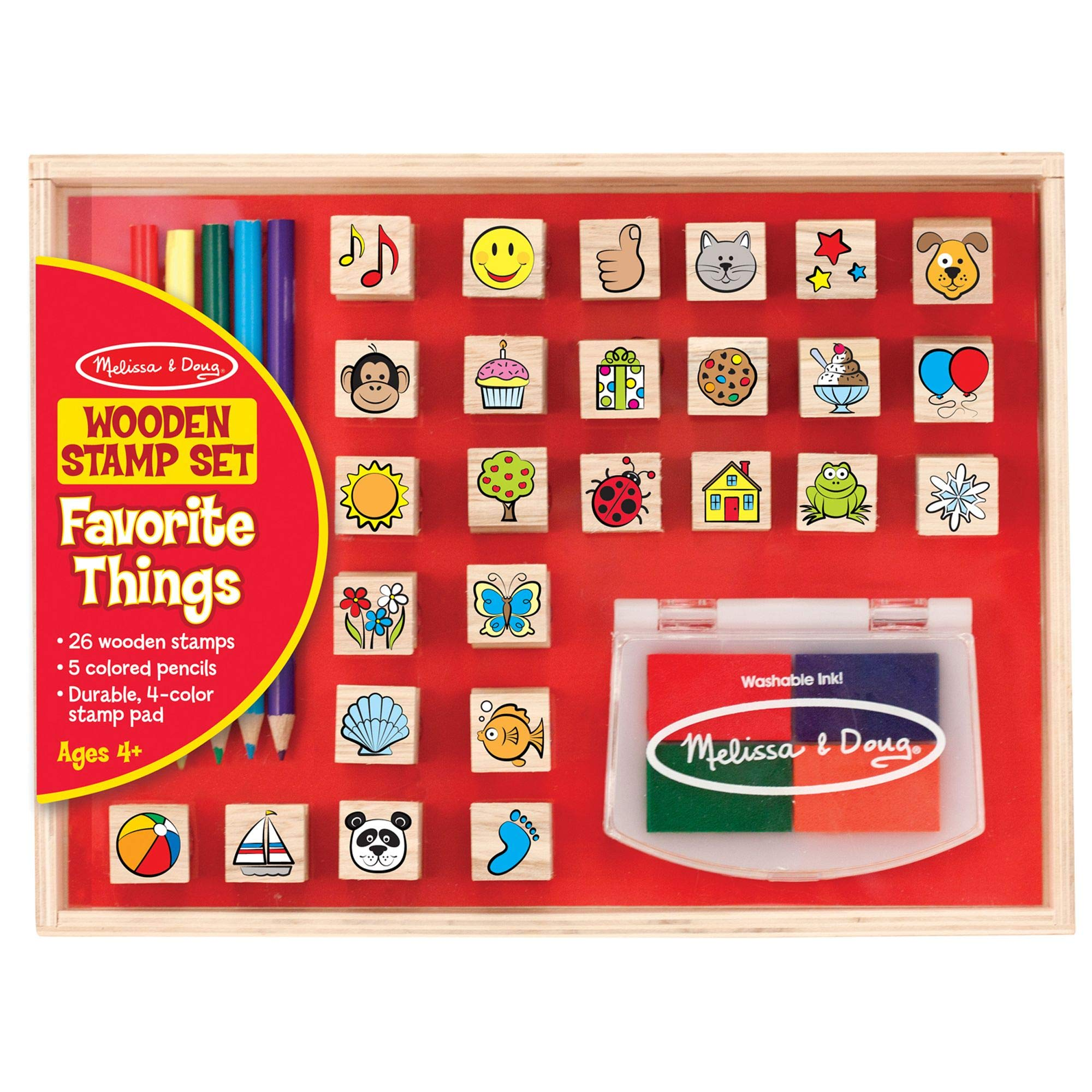 """Melissa & Doug Wooden Favorite Things Stamp Set, Arts & Crafts, Sturdy Wooden Storage Box, Washable Ink, 26 Pieces, 10.45"""" H x 8.25"""" W x 1.6"""" L"""