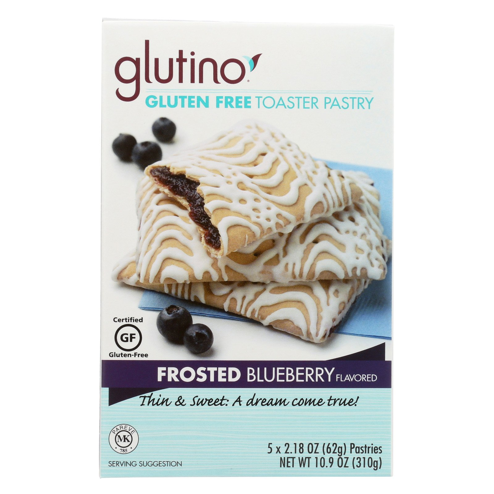 Glutino Frosted Toaster Pastry - Blueberry - Case of 6-10.9 oz.