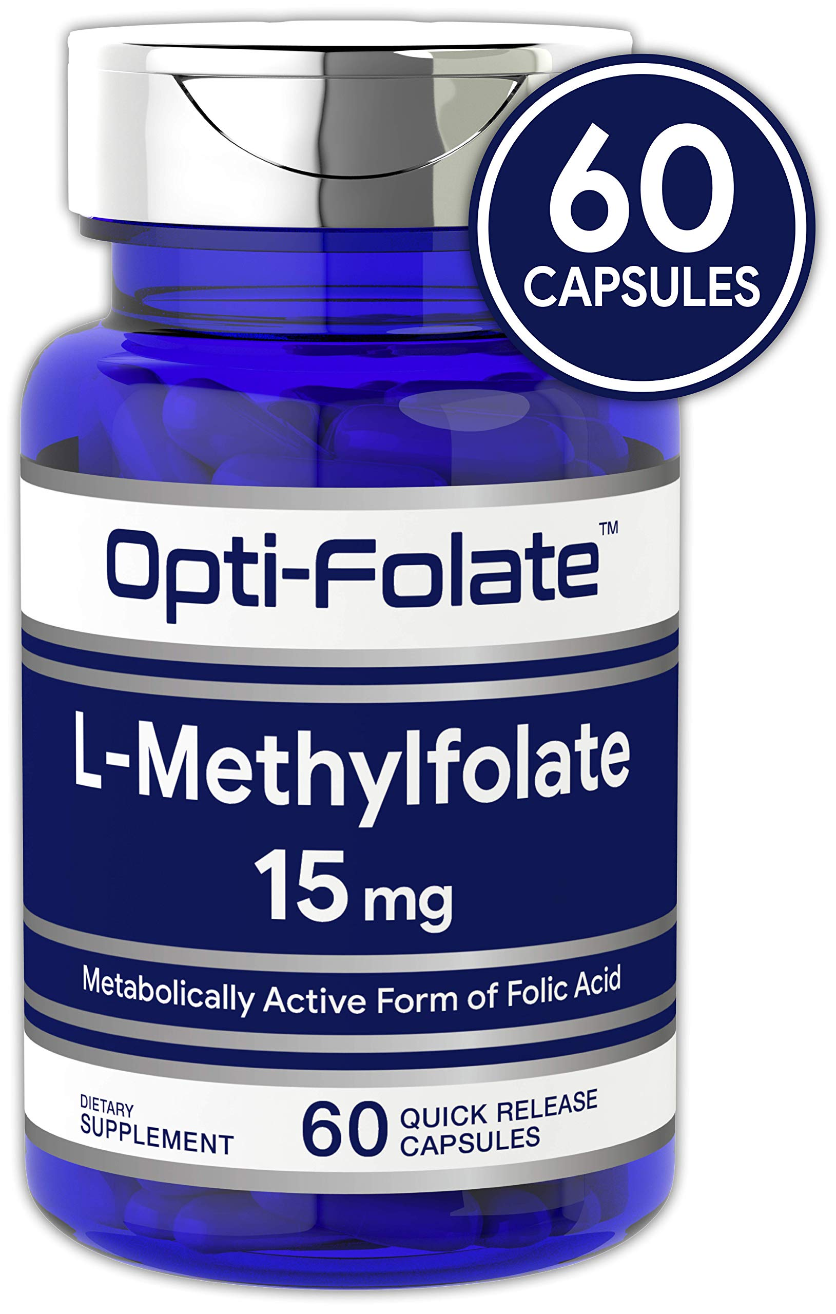 L Methylfolate 15mg | 60 Capsules | Max Potency | Optimized and Activated | Non-GMO, Gluten Free | Methyl Folate, 5-MTHF | by Opti-Folate by Carlyle