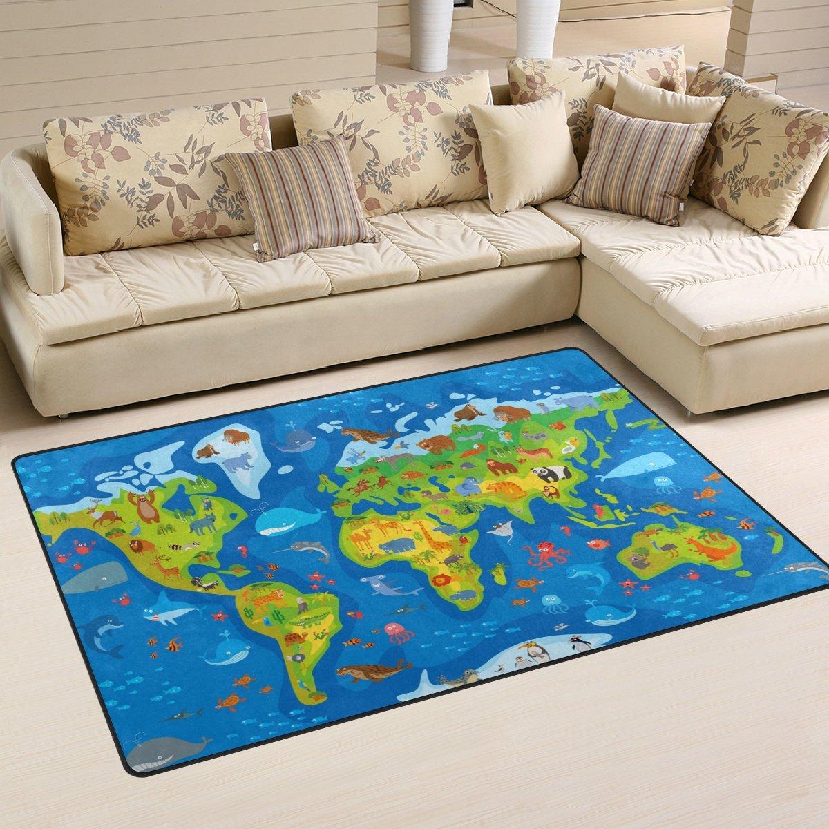 DEYYA Kid World Map Memory Foam Area Rug,Modern Floor Rug Carpet for Living Room Bedroom Home Decor, Play Mats for Infants 31 x 20 inches g1802993p146c161s240